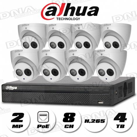 4k|H.265 8ch 8PoE NVR 4TB HDD & 2MP PoE Cameras