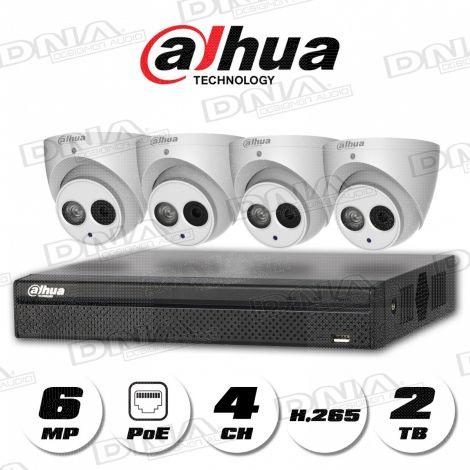 4k|H.265 4ch 4PoE NVR 2TB HDD & 6MP PoE Cameras