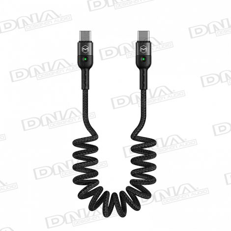 Type-C To Type-C Coiled PD USB Lead - 1.8 Metres