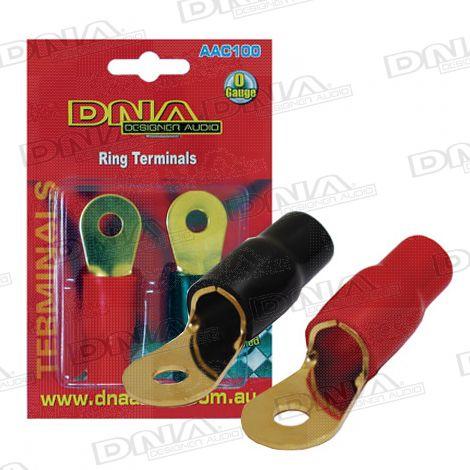 0 Gauge Ring Terminals - 1 Black 1 Red