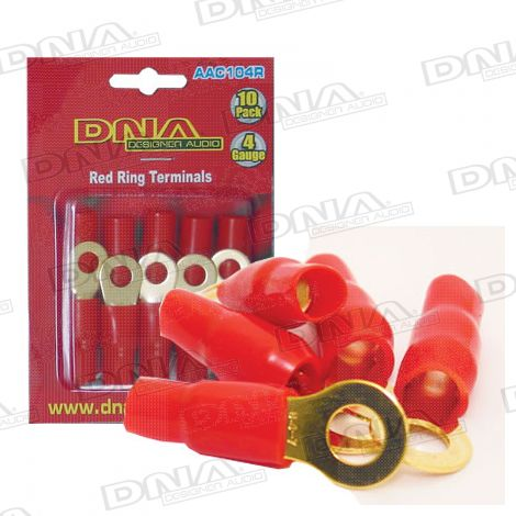 4 Gauge Ring Terminals Red - 10 Pack