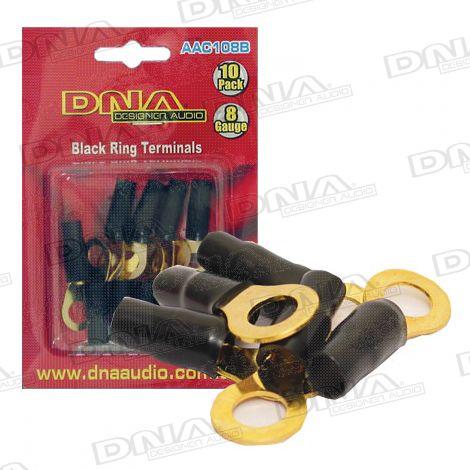 8 Gauge Ring Terminals Black - 10 Pack