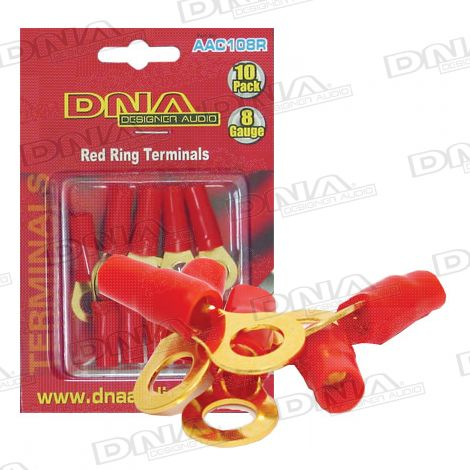 8 Gauge Ring Terminals Red - 10 Pack