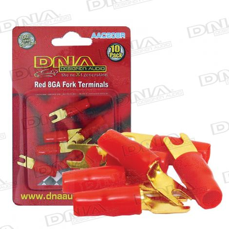 8 Gauge Fork Terminal Red - 10 Pack
