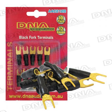12 Gauge Fork Terminal Black - 10 Pack