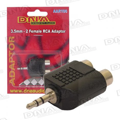 3.5mm Plug To 2 RCA Female Audio Adaptor - 1 Pack