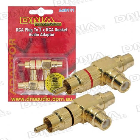 RCA Plug To 2 RCA Socket Audio Adaptor - 2 Pack