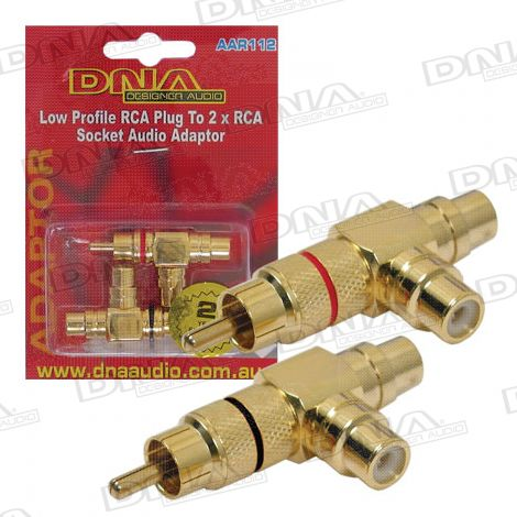 RCA Slimline Plug To 2 RCA Socket Audio Adaptor - 2 Pack
