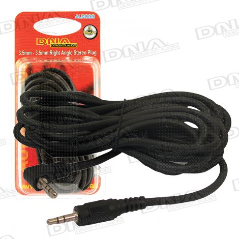 3.5mm Stereo Plug To 3.5mm Right Angle Plug Audio Lead - 3 Metre