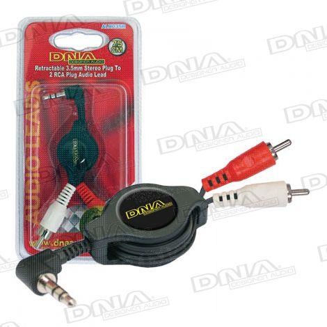 Retractable 3.5mm Plug To  2 RCA Plug Audio Lead - 75cm
