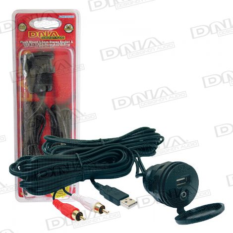 Flush Mount 3.5mm Socket & USB Socket To 2 RCA Plug & USB Plug Lead