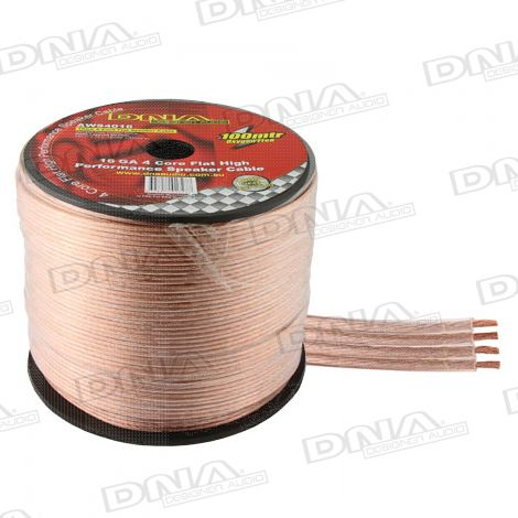 4 Core Flat 16 Gauge Speaker Cable - 100 Metres