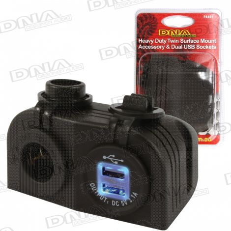 Heavy Duty Twin Surface Mount Accessory & Dual USB Sockets