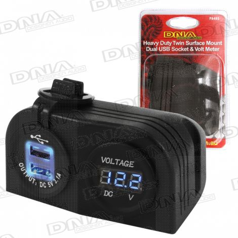 Heavy Duty Twin Surface Mount Dual USB Socket & Volt Meter