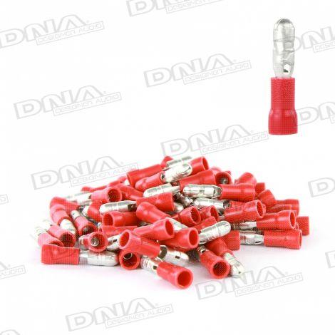4mm Red Male Bullet Crimp Terminals (Single Grip) - 100 Pack