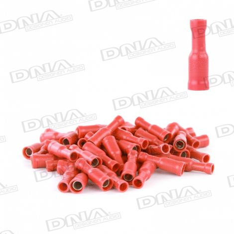 4mm Red Female Bullet Crimp Terminals (Single Grip) -100 Pack