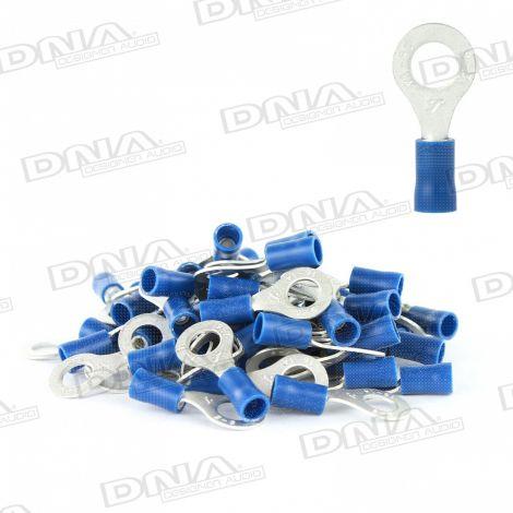 6.5mm Blue Ring Crimp Terminals (Single Grip) - 100 Pack
