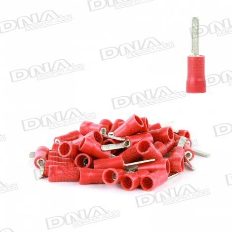 2.4mm Red Flat Blade Crimp Terminals (Single Grip) - 100 Pack