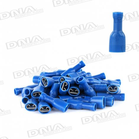 6.4mm Blue Fully Insulated Female Crimp Spade Terminals (Single Grip) - 100 Pack