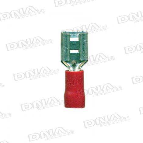 6.4mm Red Female Uninsulated  Spade Crimp Terminals 100 Pack