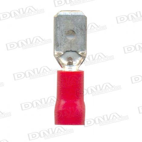 6.35mm Red Male Spade Tab Crimp Terminals 100 Pack