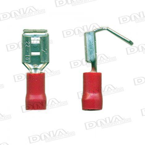 6.35mm Red Female Uninsulated Piggy Back Spade Terminals 100 Pack