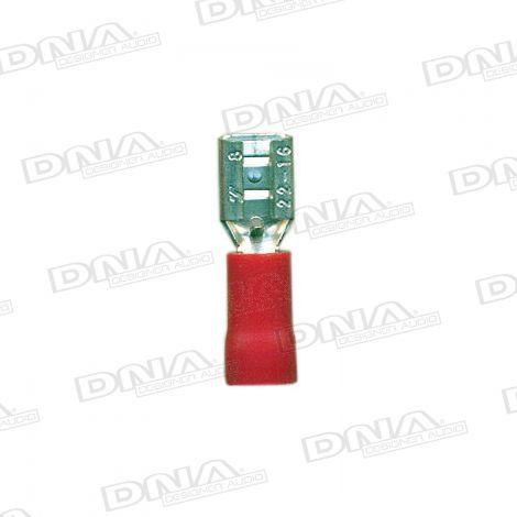 4.8mm Red Female Uninsulated Spade Crimp Terminals 100 Pack