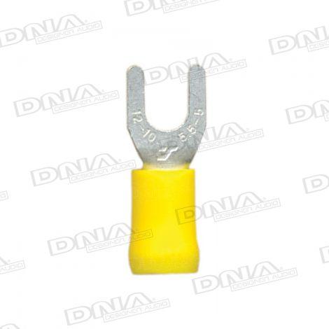 5mm Yellow Fork Crimp Terminals 100 Pack