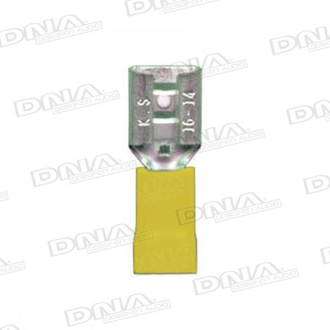 6mm Yellow Female Spade Crimp Terminals 100 Pack