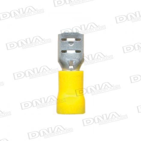 6.4mm Yellow Female Uninsulated Spade Crimp Terminal 100 Pack