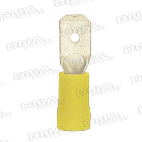 6mm Yellow Male Spade Crimp Terminals 100 Pack