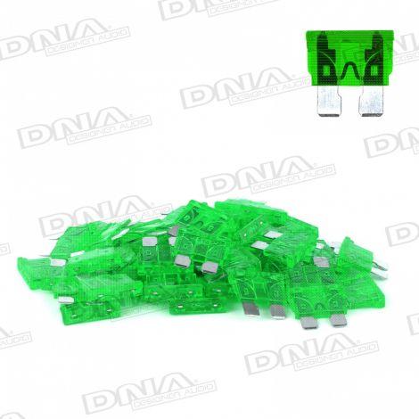 30 Amp Blade Fuse - 50 Pack