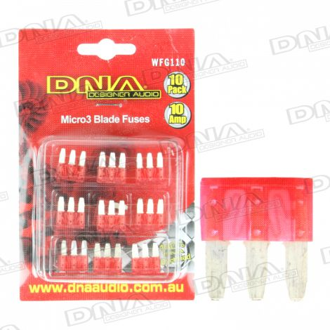 10 Amp Micro3 Fuse - 10 Pack