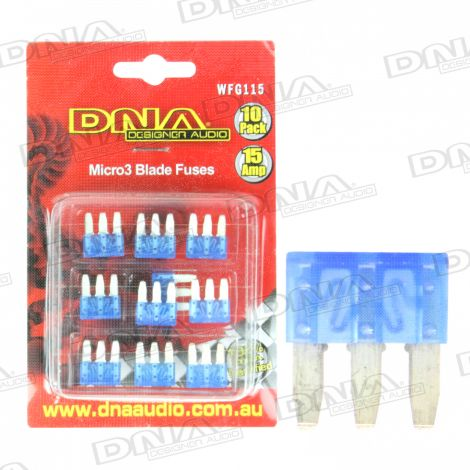 15 Amp Micro3 Fuse - 10 Pack