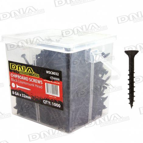 32mm Chipboard Screws Black 8 Gauge - 1000 Pack