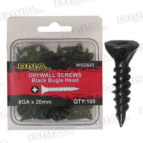 20mm Drywall Screws 8 Gauge Black - 100 Pack