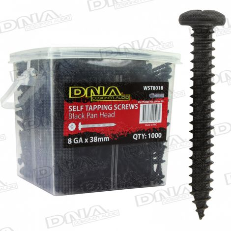 38mm Black Self Tapper Screws 8 Gauge - 1000 Pack