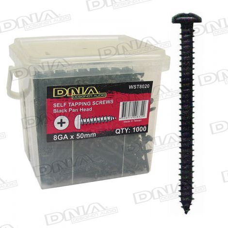 50mm Black Self Tapper Screws 8 Gauge - 1000 Pack