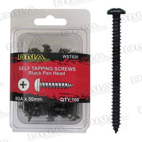 50mm Black Self Tapper Screws 8 Gauge - 100 Pack