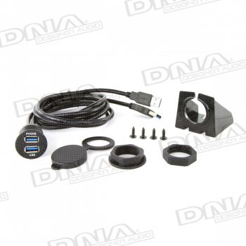 Universal Round Mount USB Adaptor Lead To Fit In Most Cigarette Lighter / Accessory Sockets
