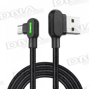 Nylon Right Angle Micro-USB to Right Angle USB Lead – 1.8m