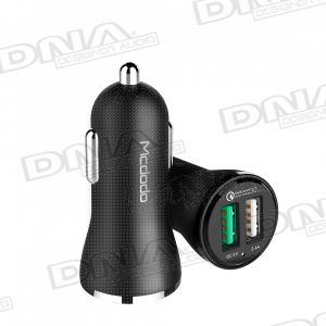 30W QC3.0 + 2.4 Amp Dual USB 12/24V Car Charger