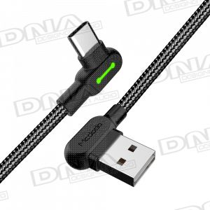 Right Angle Type-C to Right Angle USB Nylon Braided Lead - 3 Metres