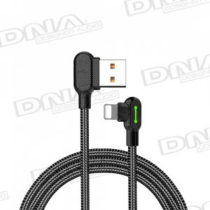Right Angle Apple Lightning to Right Angle USB Nylon Braided Lead - 3 Metre
