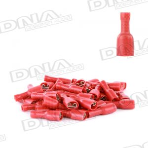 6.4mm Red Fully Insulated Female Crimp Spade Terminals (Single Grip) - 100 Pack